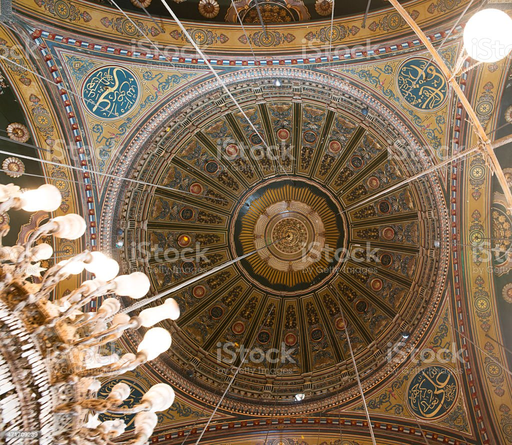 Ceiling view in Mosque of Muhammad Ali stock photo