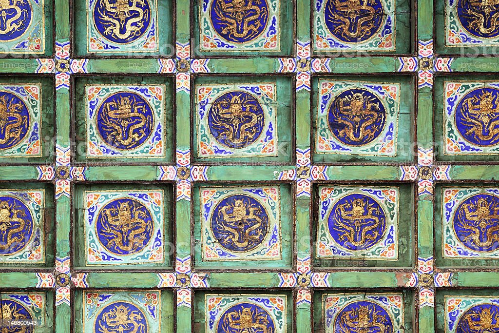 Ceiling with dragons stock photo