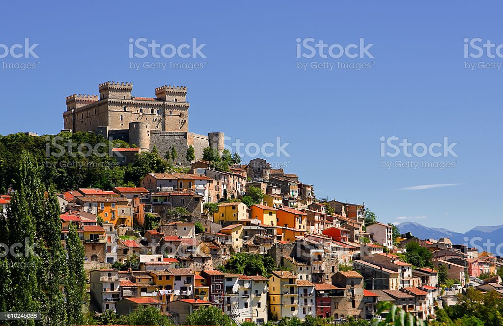 Celano and Piccolomini castle  (Italy) stock photo