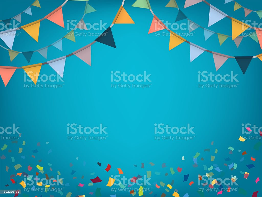 Celebrate banner. Party flags with confetti. Vector. stock photo