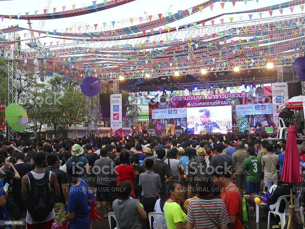 Celebrate Songkran Festival and listen to outdoor concert royalty-free stock photo