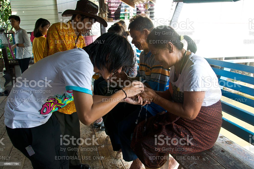 THAILAND -celebrate Songkran (Thai new year) stock photo