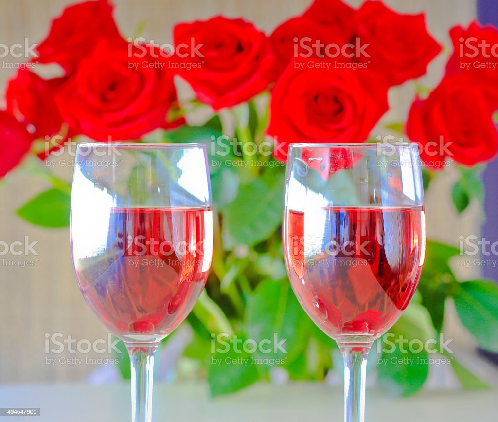 Celebrate Valentine's Day with Wine and Roses stock photo
