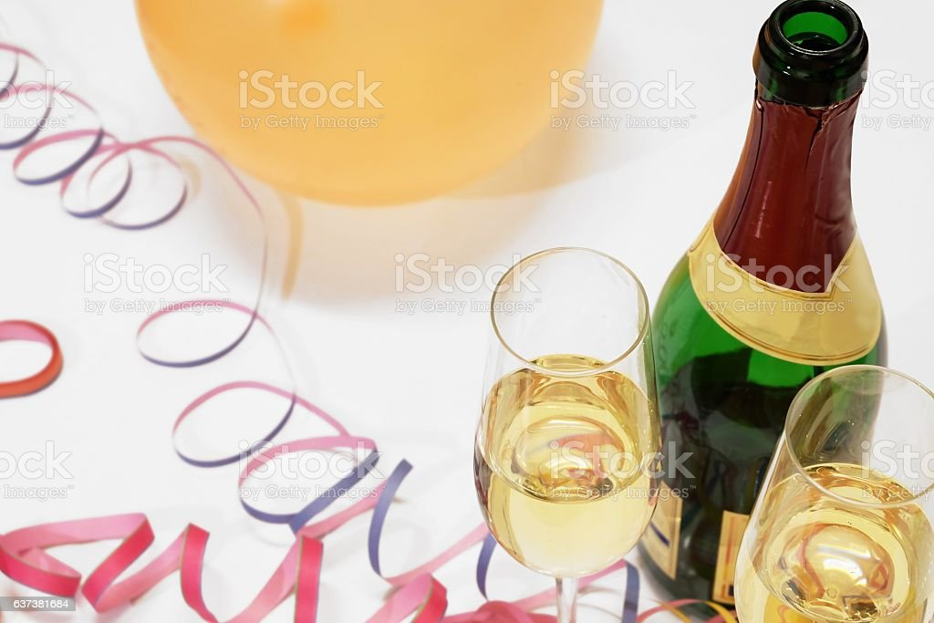 Celebrate with sparkling wine stock photo