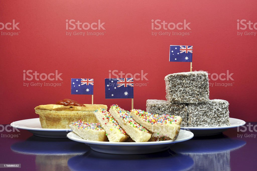 Celebrate with traditional Aussie tucker food stock photo