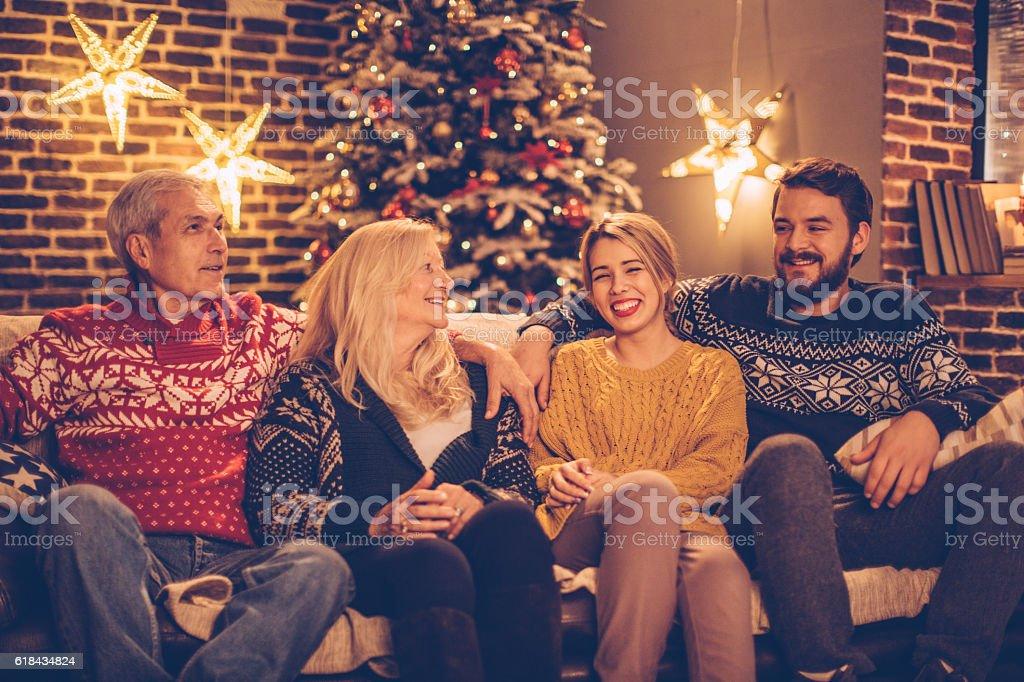Celebratin Christmas together. stock photo