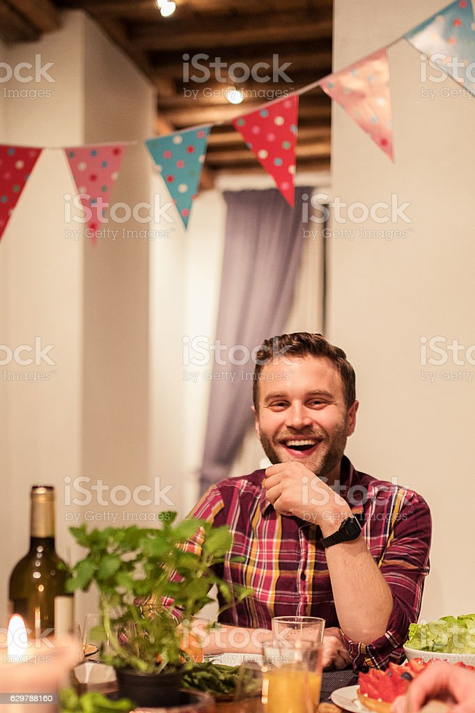 Celebratinf New Year's eve with friends stock photo