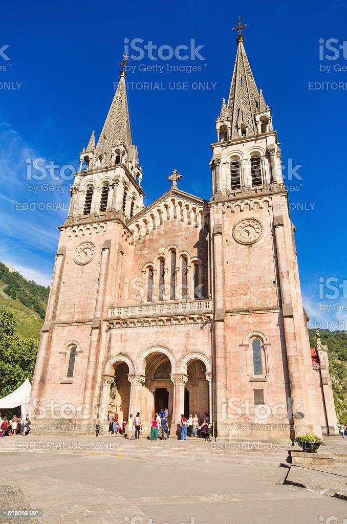 celebrating a mass at Covadonga Basilica in Asturias, Spain. stock photo