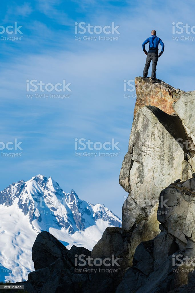 Celebrating a personal victory in stunning nature stock photo