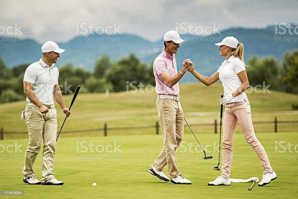 Celebrating after Successful Putt stock photo
