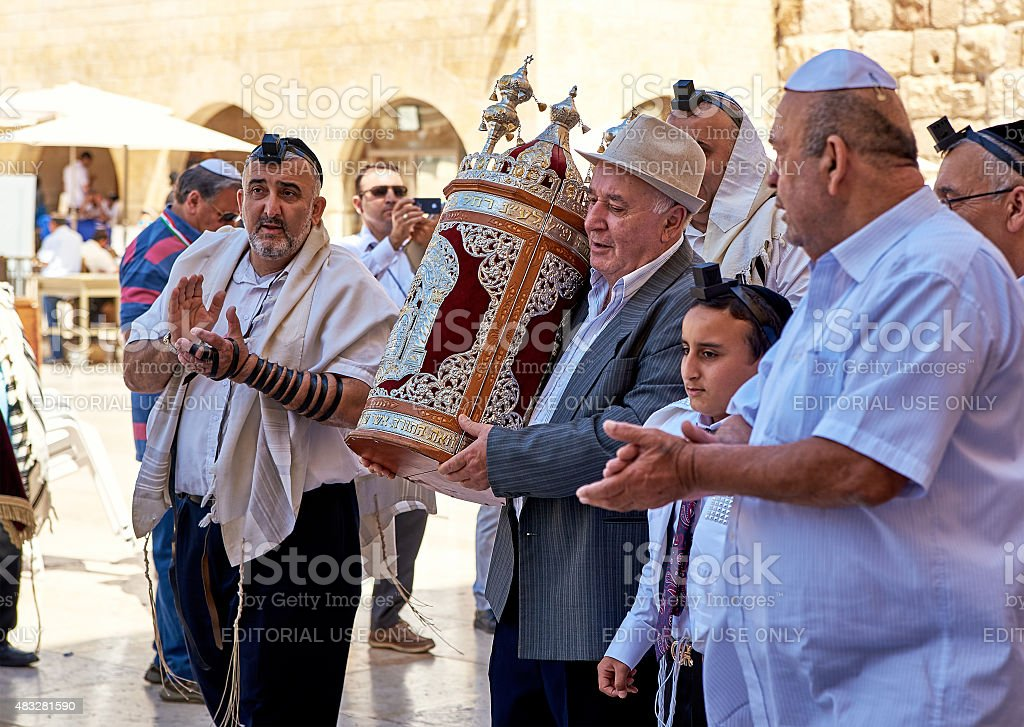 Celebrating Bar Mitzvah at the Western Wall in Jerusalem stock photo
