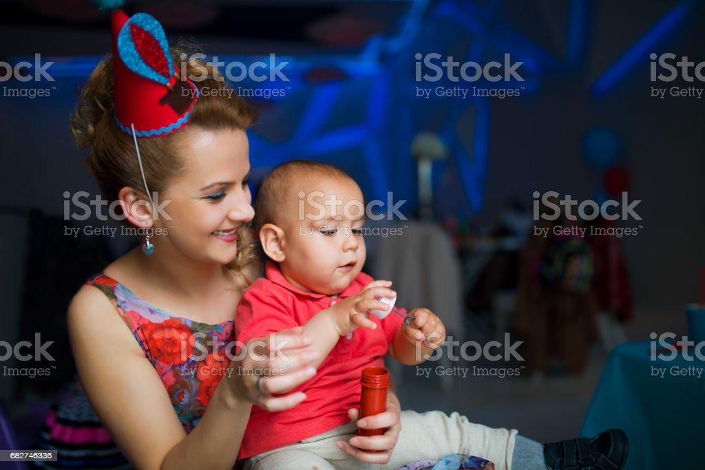 Celebrating birthday party stock photo