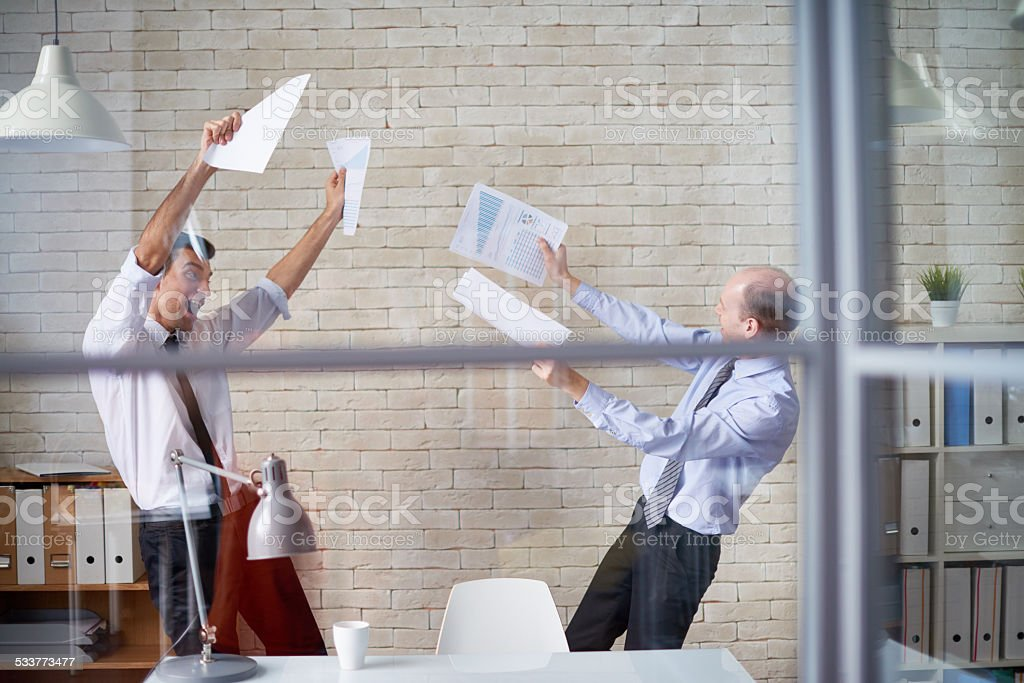 Celebrating business victory stock photo