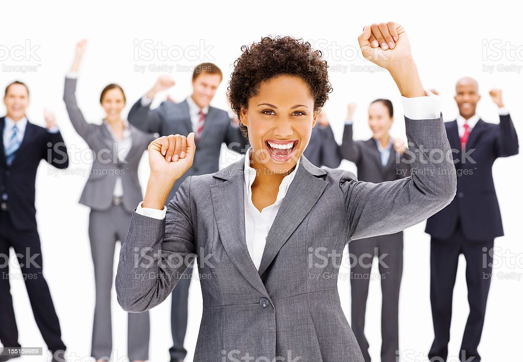 Celebrating Businesswoman royalty-free stock photo