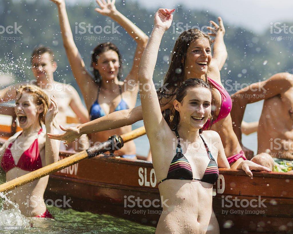 Celebrating Canoe Win royalty-free stock photo