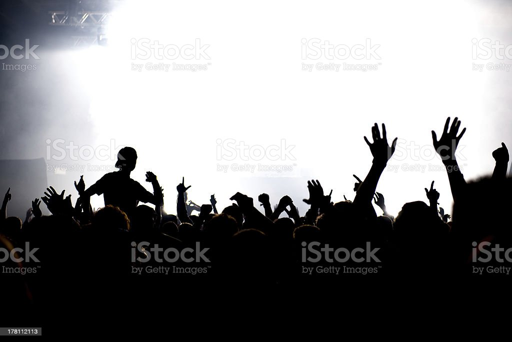 celebrating crowd of people at festival concert or party stock photo