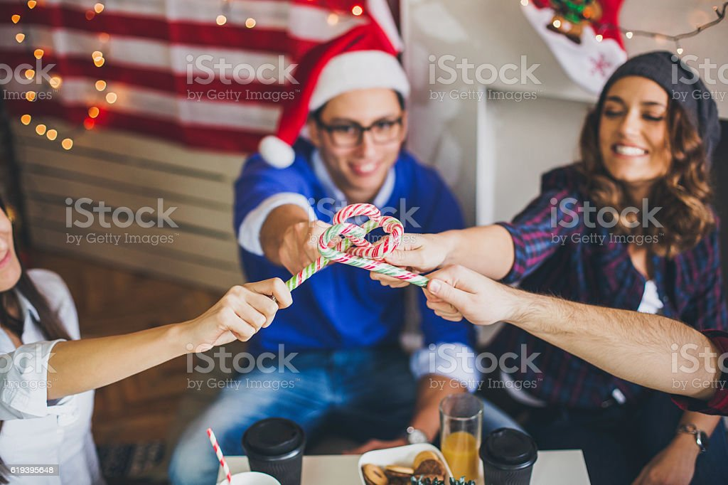 Celebrating first day of New Year in office stock photo