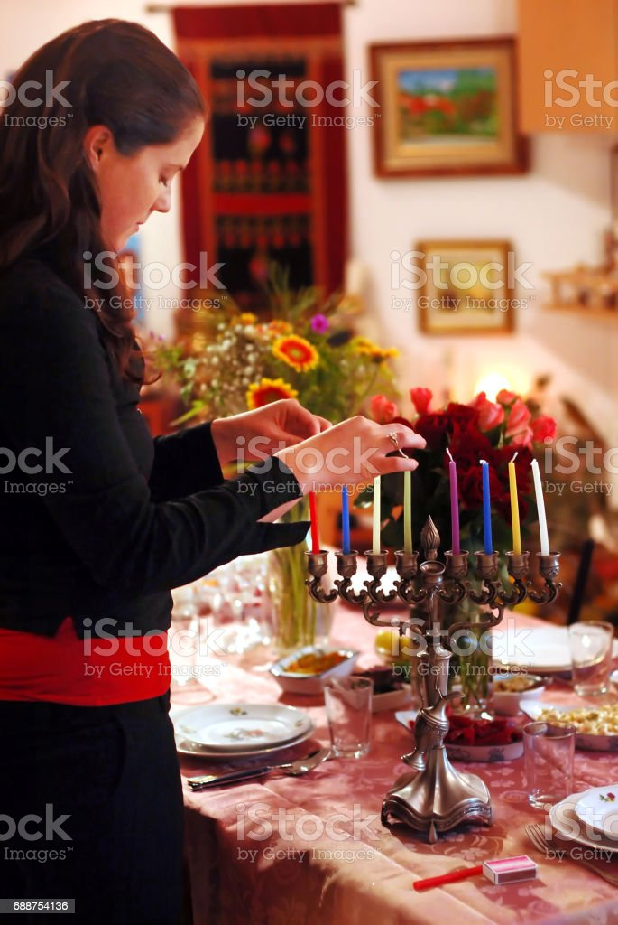 Celebrating Hanukkah stock photo