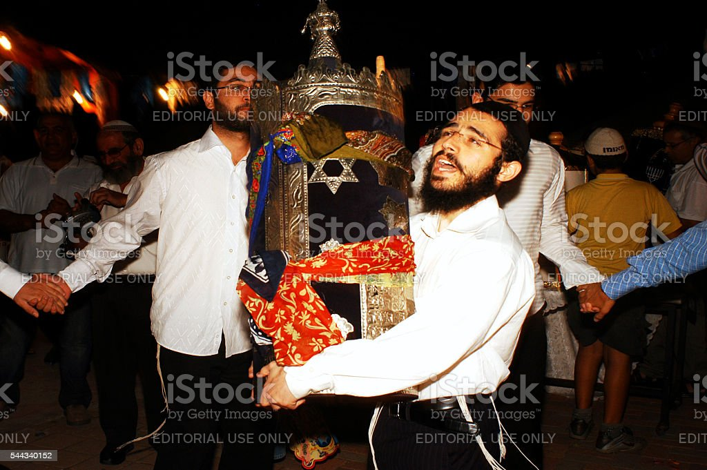 Celebrating Jewish Holiday Simchat Torah in a Synagogue stock photo