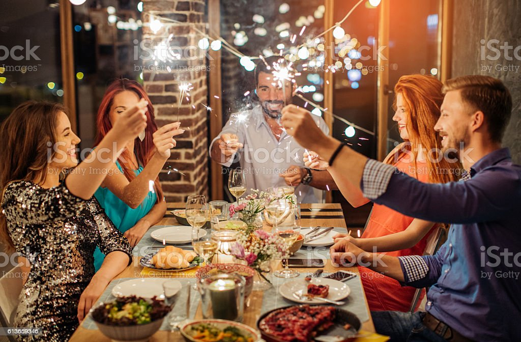 Celebrating many years together stock photo