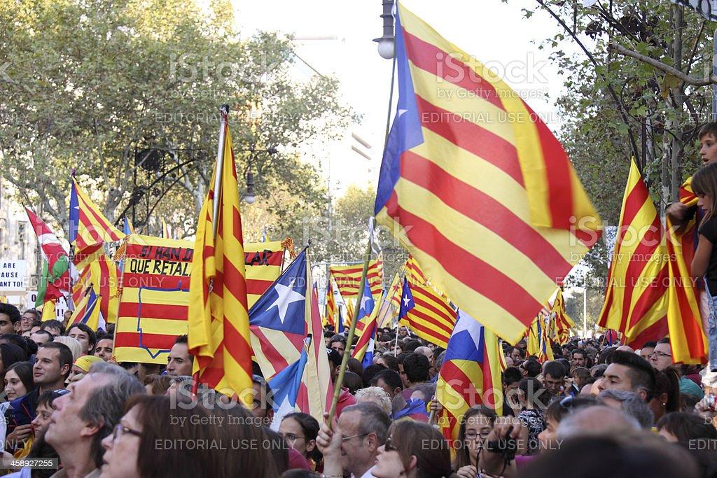 Celebrating National Day of Catalonia royalty-free stock photo