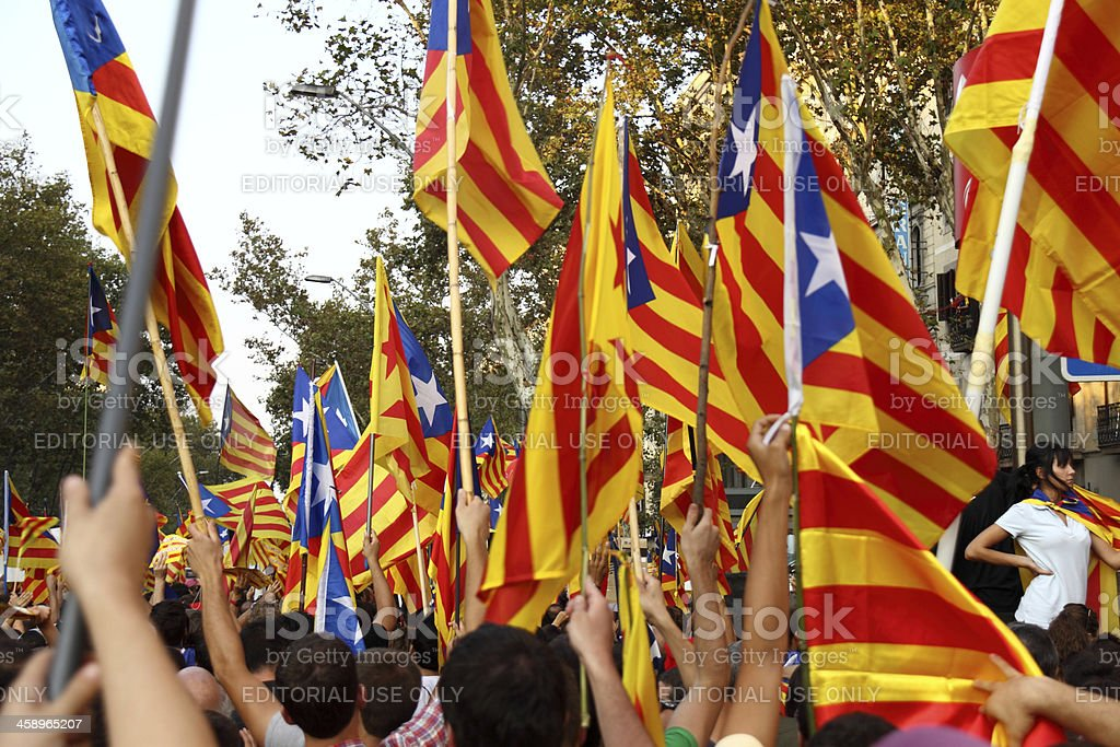 Celebrating National Day of Catalonia stock photo