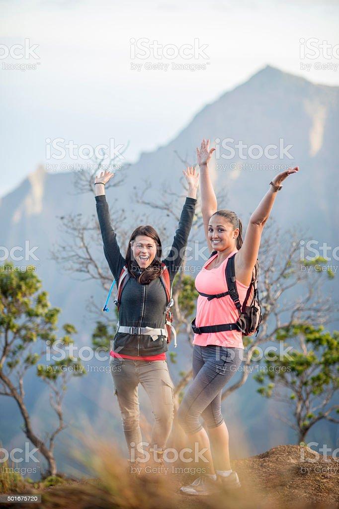 Celebrating on a Mountain Top stock photo