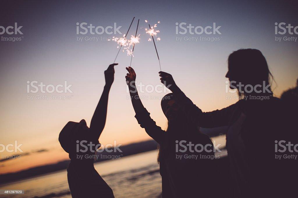 Celebrating our friendship stock photo