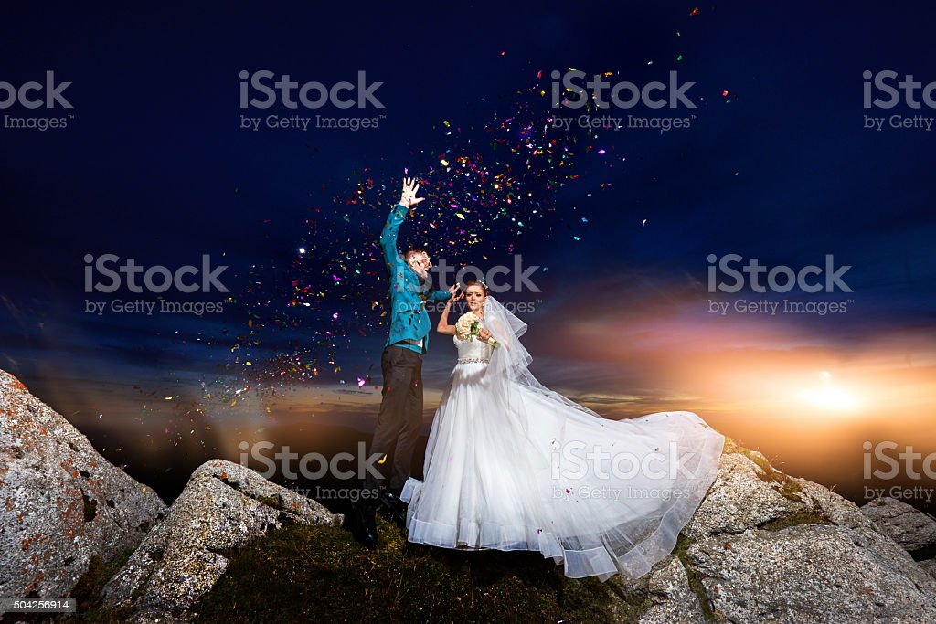 celebrating our marriage day stock photo