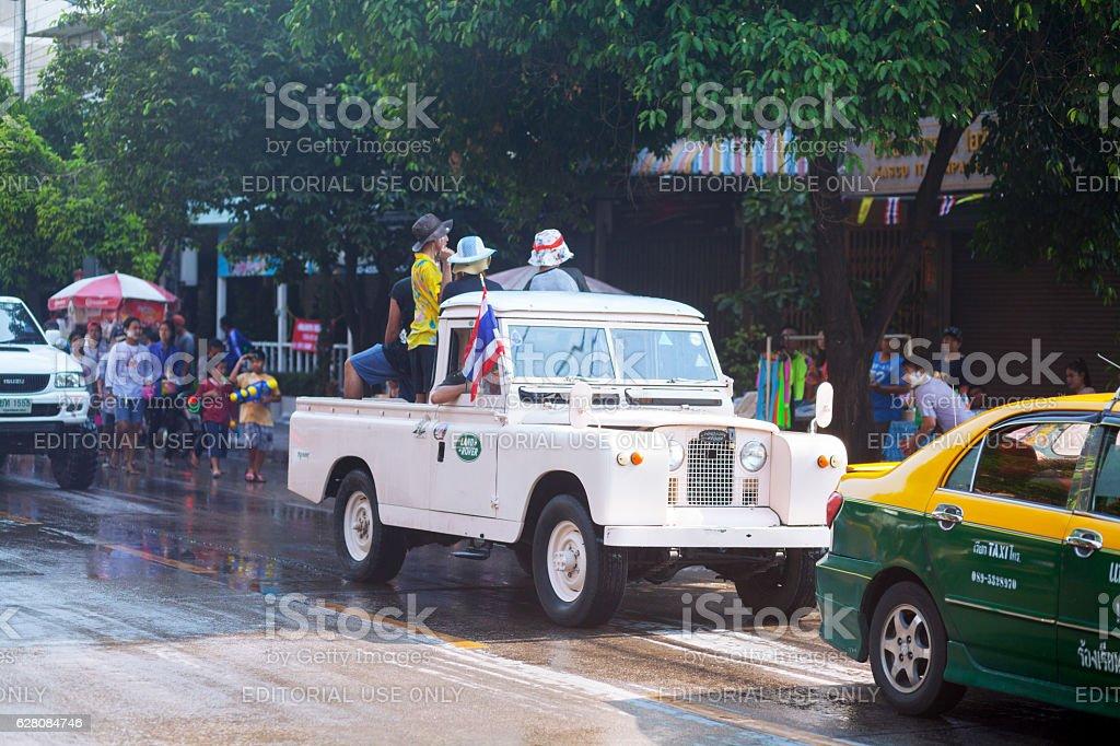 Celebrating Songkran stock photo