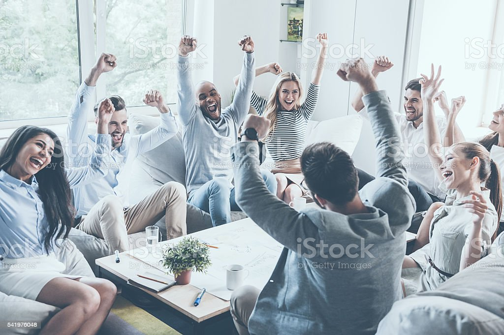 Celebrating success. stock photo