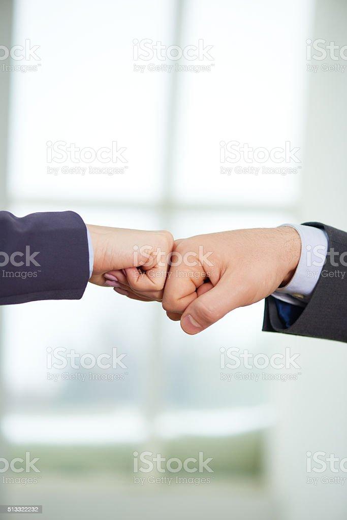 Celebrating successful deal stock photo