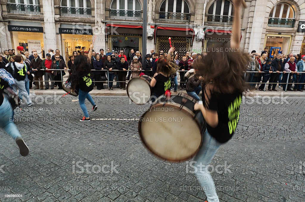 Celebrating the April 25th in Lisbon stock photo
