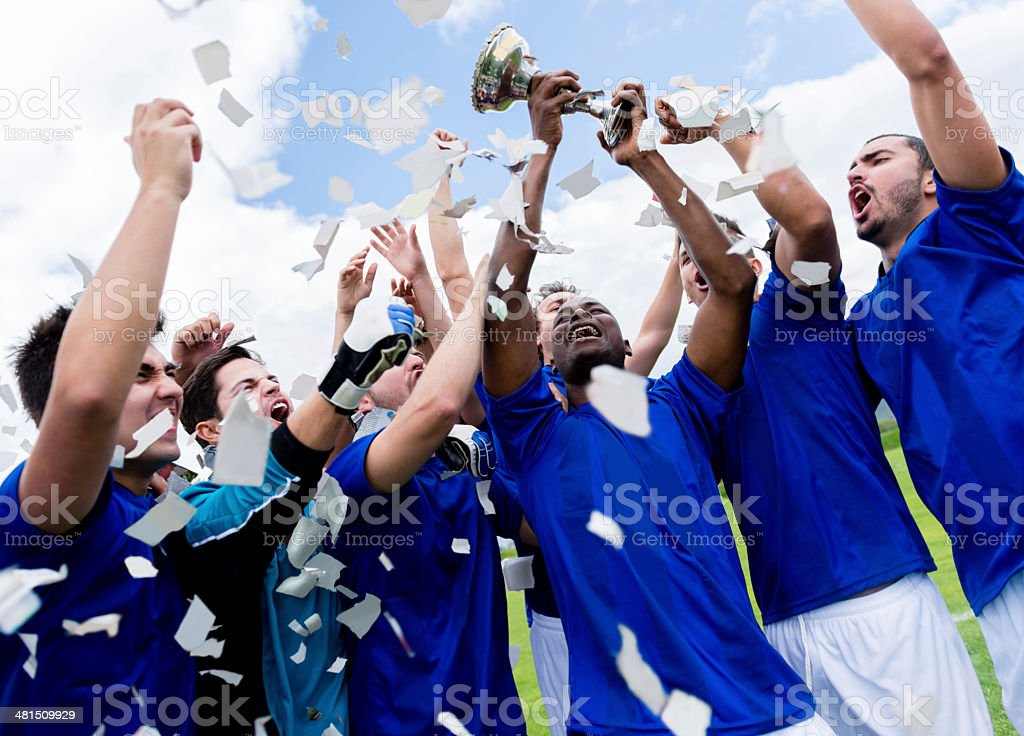 Celebrating the cup stock photo