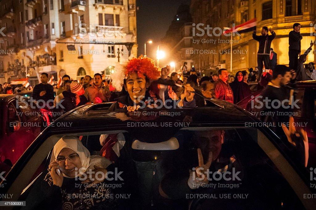 Celebrating the fall of Mubarak in Cairo stock photo