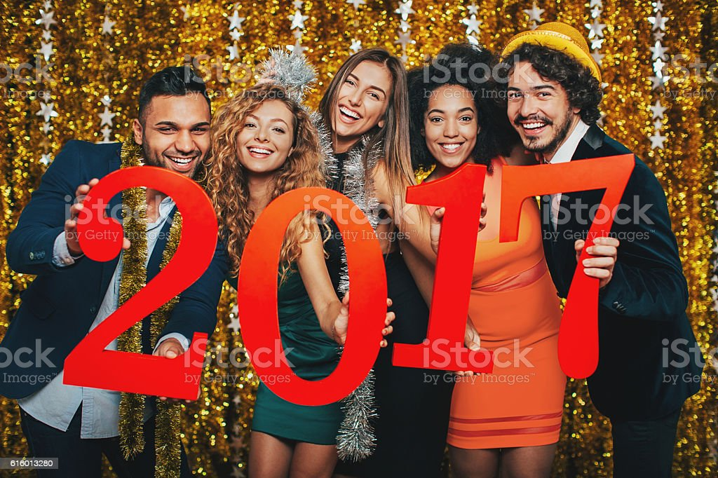 Celebrating the New 2017 Year stock photo
