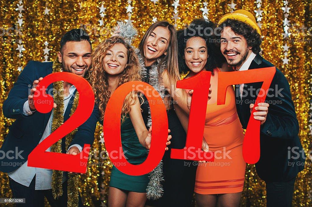 Celebrating the New 2017 Year stock photo