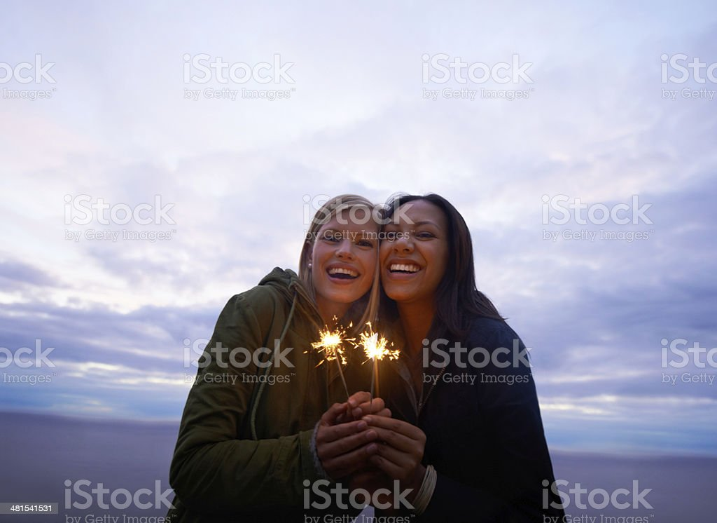 Celebrating the start of an awesome holiday! stock photo
