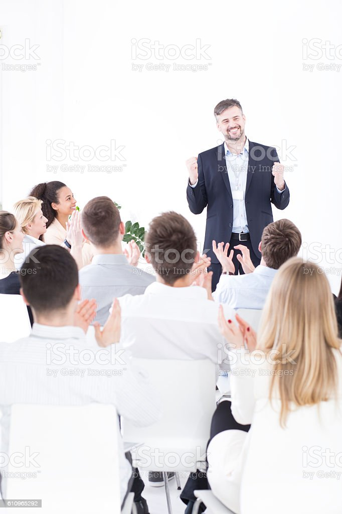 Celebrating their company's succesful move stock photo