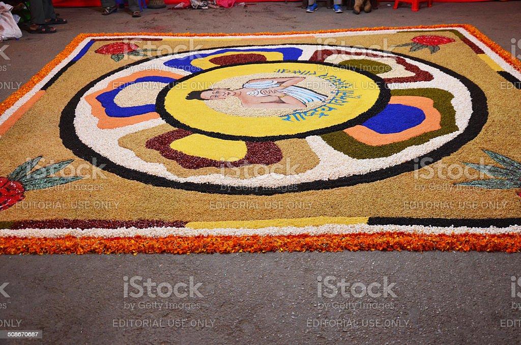 Celebrating Tihar Deepawali festival in Kathmandu Nepal. stock photo