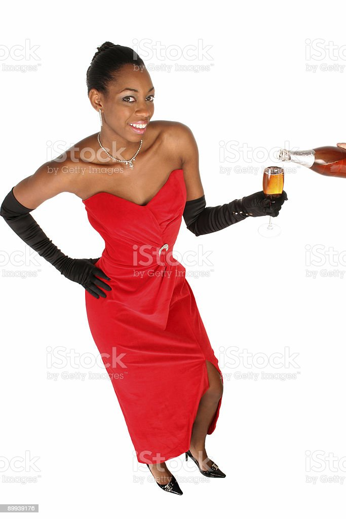celebrating with a glass of wine royalty-free stock photo