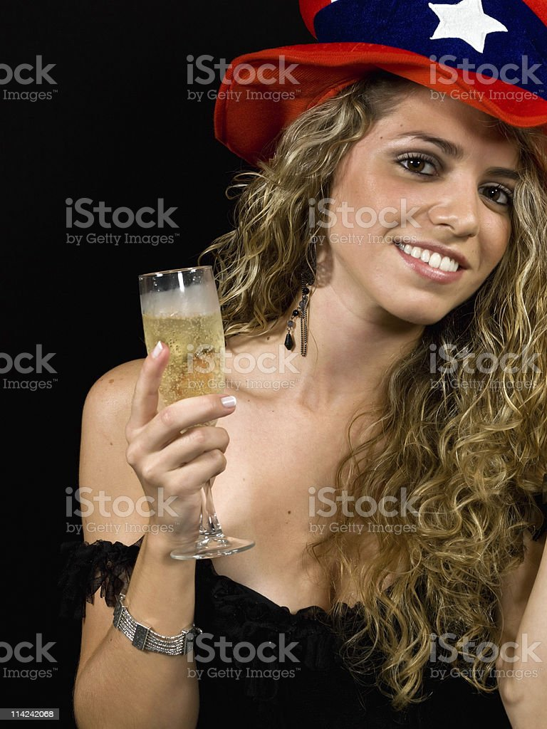 Celebrating with champagne royalty-free stock photo