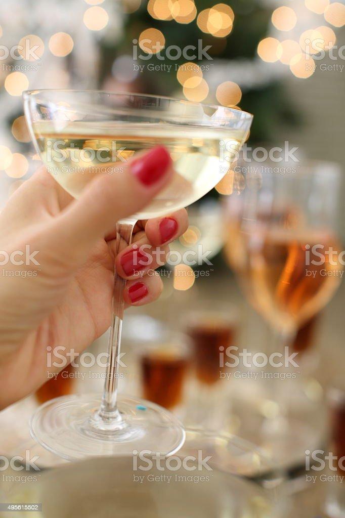 Celebrating with white wine stock photo