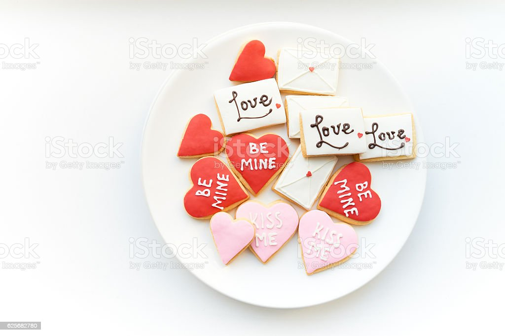 Celebration cookies on plate stock photo