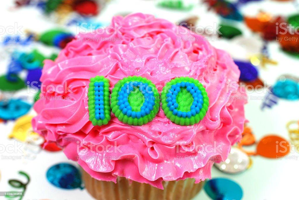 Celebration Cupcake - Number 100 royalty-free stock photo