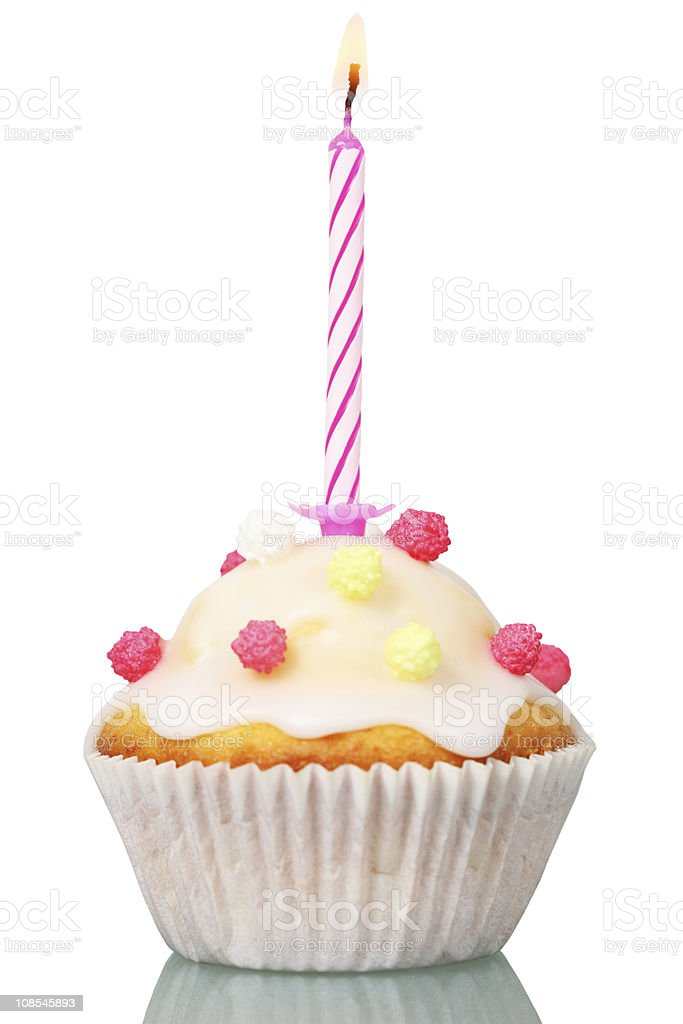 Celebration Cupcake Sweeties and Candle on White stock photo