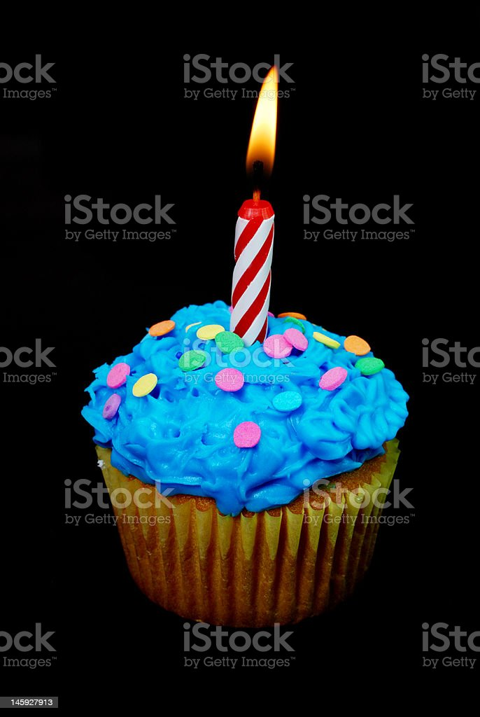 Celebration Cupcake with Candle stock photo