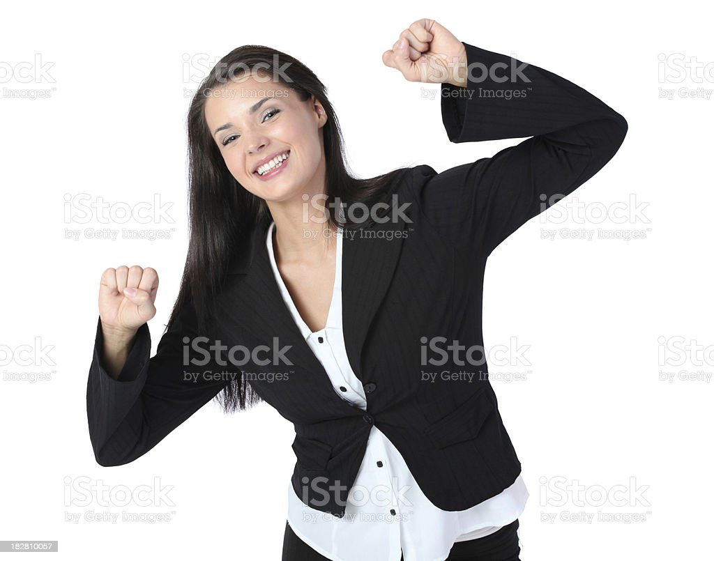 Celebration dance young businesswoman royalty-free stock photo