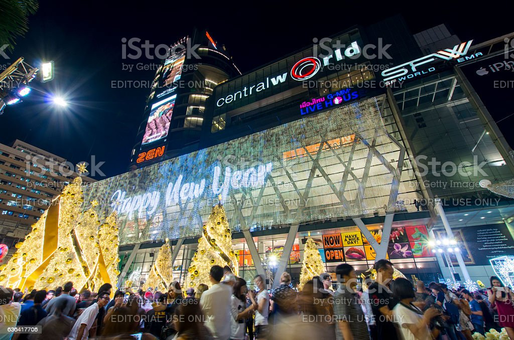 Celebration event at shopping mall stock photo