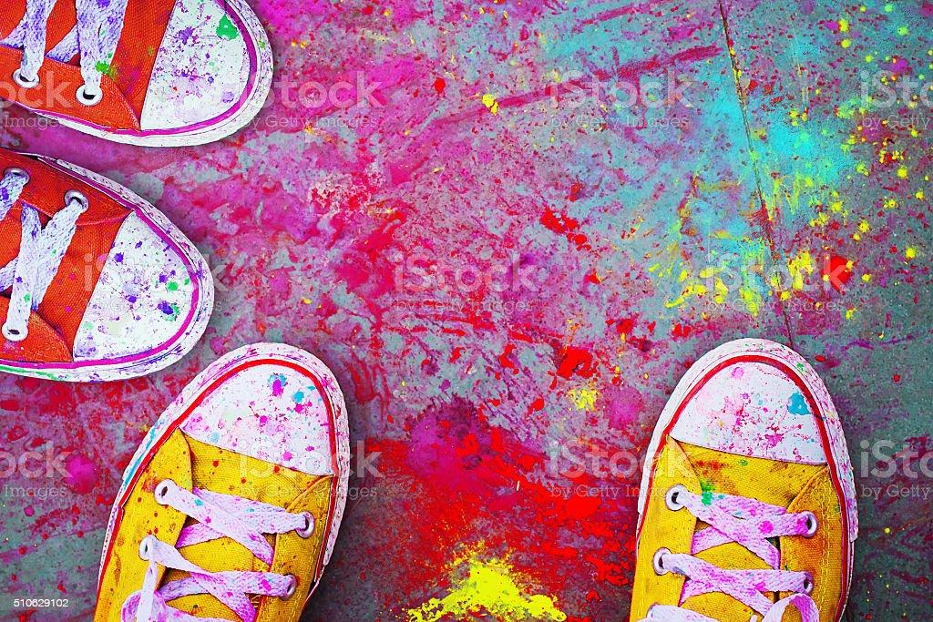 Celebration Festival Holi. Detail close-up stock photo